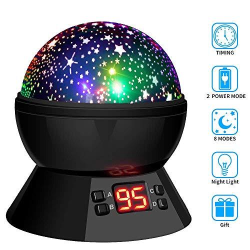 Lampada Proiettore Stelle Luce Notturna Rotante, 8 Modalità, Controllo Timer LED, Alimentato da...