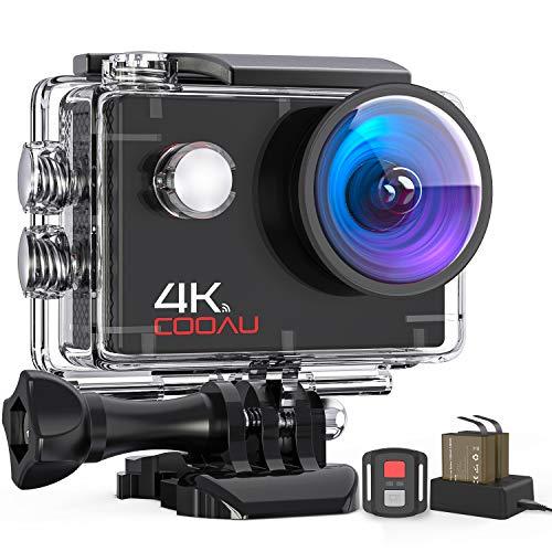 COOAU Action Cam HD 4K 16MP, Subacquea Impermeabile fino a 40M Fotocamera con Caricabatterie a 2 Scomparti Telecomando WiFi EIS Stabilizzazione Videocamera, Telecamera Sportiva con Modalità Time Lapse