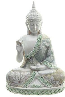 Decorativo floral sabiduría de Buda figura decorativa–altura 17,5cm, ancho 12cm, profundidad 8,5cm