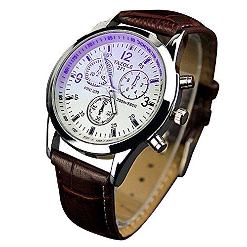 Yazole Blue-Ray orologio da polso unisex in acciaio inossidabile analogico al quarzo-Cinturino marrone quadrante bianco