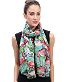 Lina & Lily Vintage Flamingo Print Women's Scarf Oversized (Blue)