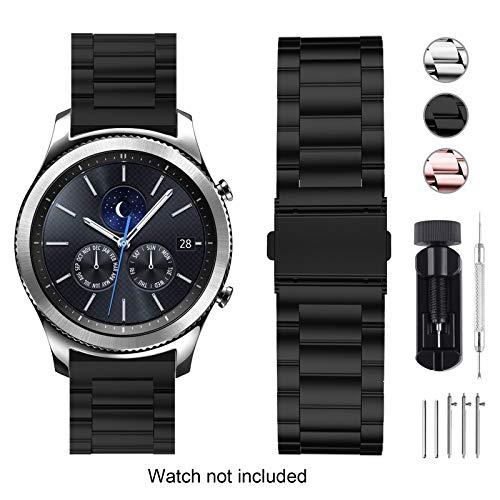 Fullmosa 3 Colori Cinturino Compatibile con Orologio Huawei Cinturino in Acciaio Inossidabile 18mm con sgancio rapido per ASUS Zenwatch 2 1.45'/Withings Steel HR (36mm)/LG Watch Style, Nero