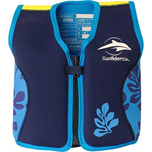 Die original Konfidence Unisex-Kinder Schwimmweste,  Mehrfarbig (Navy/Blue/Palm), 6-7 Jahre