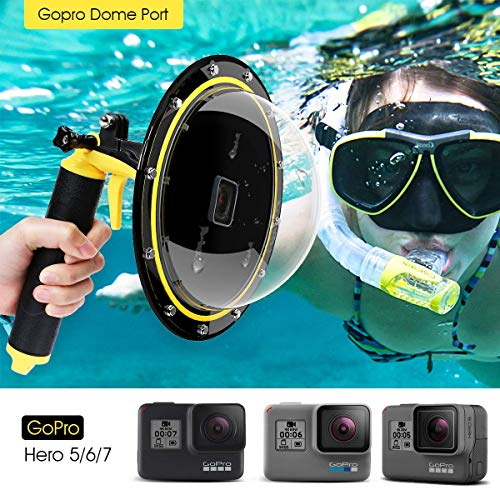 TELESIN 6' Underwater T05 Dome Port Diving Obiettivo Fotografia Porta Dome per la Gopro Hero 5 nero (T05 Dome Port, giallo)