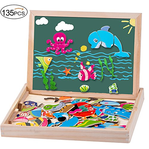 MOVEONSTEP Puzzle Magnetico Legno Giocattolo in Legno 135 pcs Giochi Educativi Doppio Lato Lavagna...