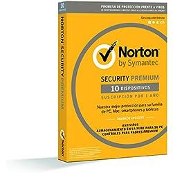 Norton Security Premium 2019 - Antivirus, PC/Mac/iOS/Android, 10 dispositivos, 1 año