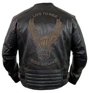 MDM Motorrad Lederjacke mit einer Adler Prägung 3