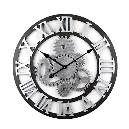 Winni43Julian Orologio da Parete Grande - 58CM Silenzioso Ingranaggio Orologio da Muro in Legno per La Decorazione di Grandi Dpazi (Sliver 2)