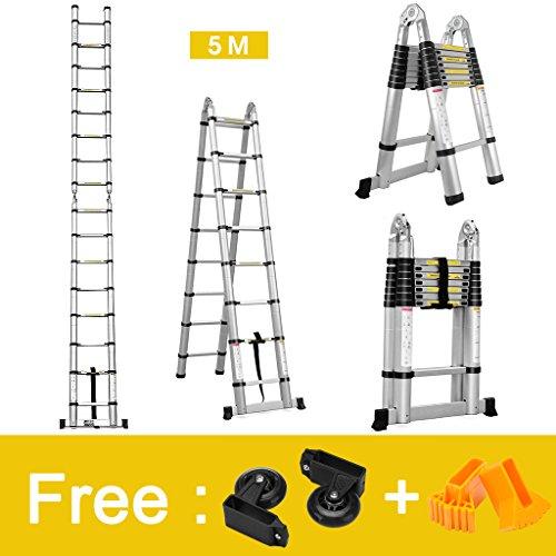 Finether 5 M Échelle Télescopique 2 en 1 Escabeau Pliant Ladder ( Multifonctions, Extendable, Aluminium, Certifié EN131, Résistance à 150kg)