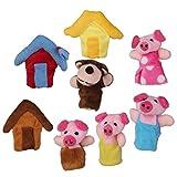 2pcs Juguete Educativo Marioneta de Mano Títeres de Dedos Patrón Tres Cerditos para Canción Infantil Cuento De Hadas