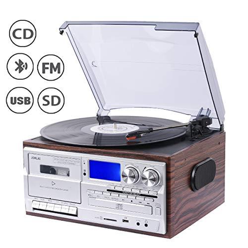 JORLAI 33/45/78 Giradischi con Bluetooth, Lettore CD e vinile, Riproduzione e Registrazione USB /...