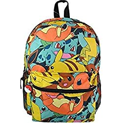 "Mochila-Pokemon-16""all over print patrón bolso de escuela nueva"