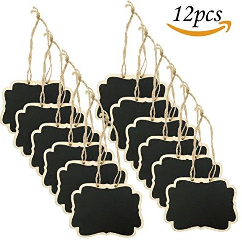 12PCS mini da appendere in legno lavagne cancellabili su due lati lavagna con corda per Message...