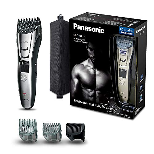 Panasonic ER-GB80-S503 Regolabarba e Tagliacapelli Impermeabile e Lavabile, Taglio 1-20 mm, Argento