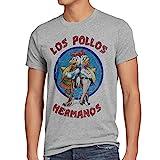 style3 Los Pollos T-Shirt da Uomo, Dimensione:L;Colore:Grigio Melange