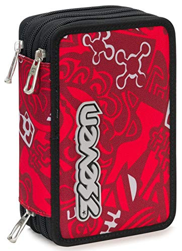 Astuccio 3 Zip Seven Noongar, Rosso, Con materiale scolastico: 18 pennarelli Giotto Turbo Color, 18...