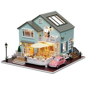 Fanvone Casa de muñecas en Miniatura DIY Kit de casa de muñecas en Miniatura de Madera Casa de muñecas con Muebles Casa…