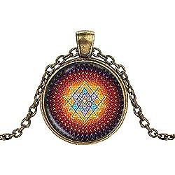 AmberRoze Multicolour Zinc Alloy Metal Sri Yantra Necklace Pendant V