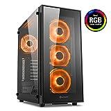 Sharkoon TG5 RGB, case da gaming midi ATX, doppio vetro temperato, quattro ventole RGB, filtri antipolvere, colore nero