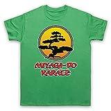 Inspirado por Karate Kid Miyagi Do Logo Bonsai Tree No Oficial Camiseta para Hombre, Verde, Medium