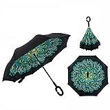 Cisixin Parapluie Inversé avec Mains Libres Poignée en Forme C, Double Couche Coupe-Vent Anti-UV Soleil, Parapluie Canne Idéal pour Voyage et Voiture (Paon)