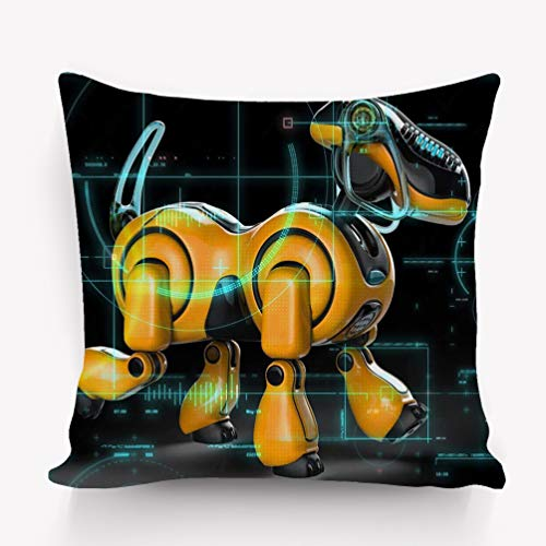 btyi7yos Copricuscini e federe Pillow Case Cyborg Dog Hi Tech Way Green Guard Security System Will Put Some Fun Yours Creations Character 18 * 18 inch