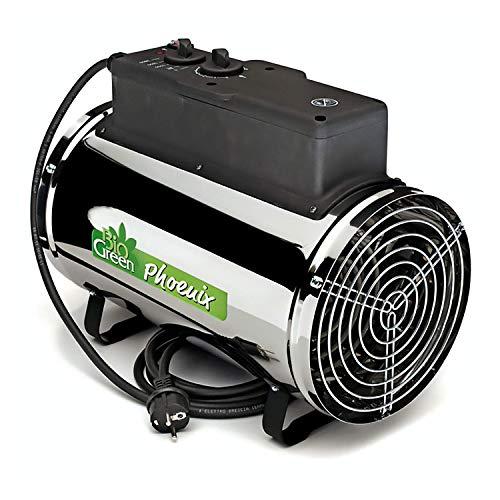 Bio Green Elektrogebläseheizung Phoenix, silber/schwarz - IP X4 Spritzwassergeschützt für Gewächshäuser