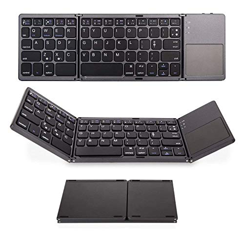 Saco Foldable Bluetooth Keyboard with Touchpad Pocket Size Portable Mini Wireless for Android, Windows, PC, Tablet, with Rechargable Li-ion Battery - Black