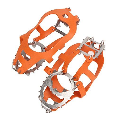 EVINIS 1par 18Dientes crampones Antideslizante Zapatos Cover, Garras Cadena de Acero Inoxidable esquí al Aire Libre Hielo Nieve Senderismo Escalada Tacos de tracción