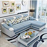 Lillyput Interio Hardwood Modern L Shape Fabric Sofa (Sky Blue, Standard Size)