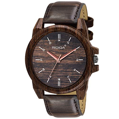 RIDIQA Wooden Traditional Analogue Brown Dial Watch for Men | BOY