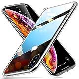 """ESR Funda para iPhone XS/X Cristal Templado [Imita la Parte Posterior del Vidrio del iPhone XS/X] [Resistente a los Arañazos] + Borde de Silicona Suave para Apple iPhone XS/X de 5.8""""-Transparente"""