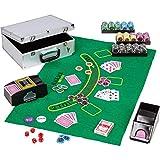 Maxstore Ultimate Pokerset Alu Pokerkoffer Deluxe, 300er BZW. 600er Edition, 12 Gramm METALLKERN Laserchips, Poker Decks, Kartenmischer, Kartengeber, Würfel, Dealer Button, Pokerchips, Jetons