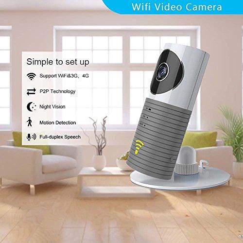 Clever dog Telecamere wifi di sicurezza wireless / Smart Baby Monitor / Telecamera di sicurezza di sorveglianza con P2P, visione notturna, registrazione video, audio a due vie (Grigio)