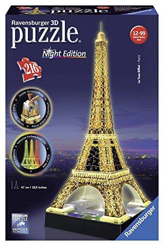 Ravensburger Italy Puzzle 3D Eiffel Tower-Edizione Speciale Notte, 216 Pezzi, RAP125661