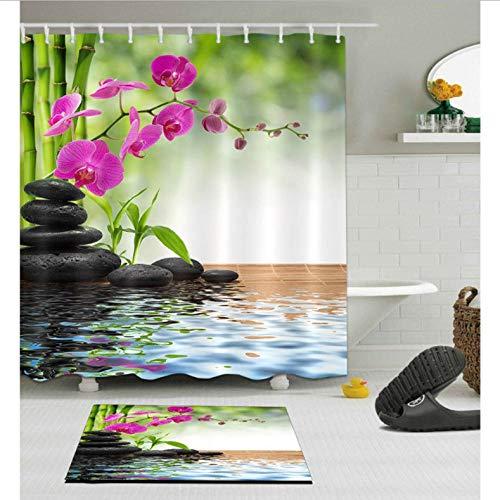 XQWZM Tenda da Doccia Zen Primavera  Tappeto Antiscivolo da 60X40 cm Tappeto da Bagno in Pietra...