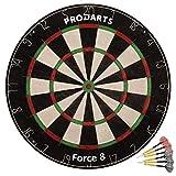 ProDarts Dartscheibe Force 8 – Aus hochwertigen A-Klasse Sisal Bristles – Extra dünne Drahtränder – 451 x 38 mm – Gratis-Geschenk: Darts + Regelheft + Montagesatz
