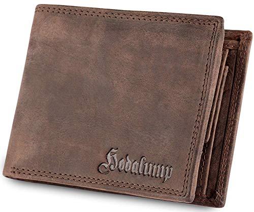 Echt-Leder Geldbörse Herren in Geschenkbox – Premium Geldbeutel handgefertigt - Portemonnaie - Wallet - Portmonee - BRAUN - RFID-Schutz