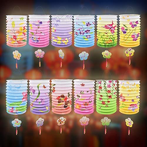 BUZIFU Chinesische Laternen 12 Stück Mehrfarbig Chinesische Papierlaternen Lampenschirme Deko Papier Lampions Bunte Papierlaternen für Chinesisches Neujahrsfest Frühlingsfest Party Feier Dekoration
