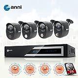 Anni CCTV Security Cameras System 4CH 1080N AHD DVR kit con 4 x 1080p 2,0 MP CCTV Cameras, Built-in Allarme Sensore Gas, Rilevazione Corpo PIR, Suoni Sirena, Visione Notturna, with 1TB HDD
