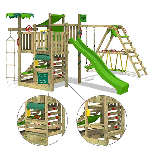 For that beach experience right in your backyard, this is the portable playground set for you to buy. It has bright-cooured accessories, a sandpit, a hammock topping off with a water connected slide to leave kids fascinated. There are four playing levels that will allow your child to develop their climbing and motor skills. Though the structure is straightforward to build, it will require more than two people to handle the job.