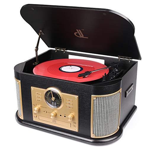 Giradischi dl 7-in-1 Vinile Turntable con Bluetooth,FM Costruito Dentro Altoparlanti Stereo,...