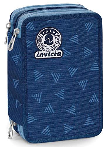 Astuccio 3 Zip Invicta Triangle, Blu, Con materiale scolastico: 18 pennarelli Giotto Turbo Color, 18...