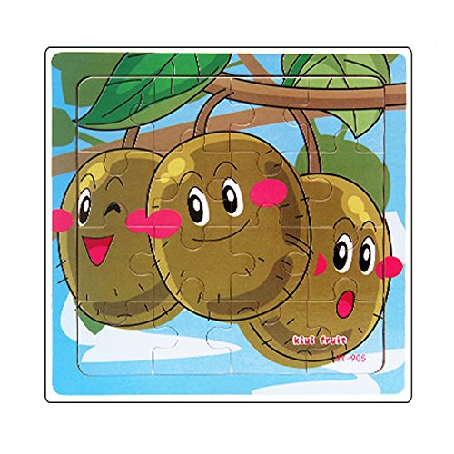 TianranRT Puzzle Jigsaw Kiwi Kids 16 Pcs Puzzle in legno colorato giocattolo educativo Fancy Puzzle...
