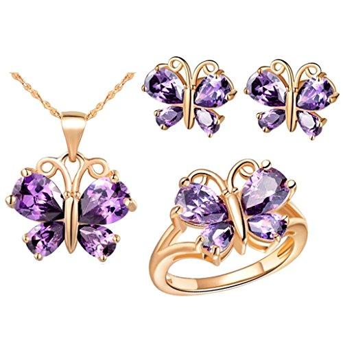 KnSam Mujer Oro Plate Conjunto de Collar Pendientes y Pulsera, Mariposa Púrpura Cristal Juego de Joyas Tamaño 12