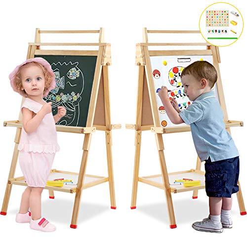 Arkmiido Cavalletto in legno per bambini, deluxe cavalletto per bambini, Multiattività Lavagna por...