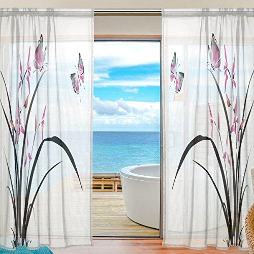 Sheer Voile cortina de ventana hermosa orquídea Floral Material Tela de poliéster con diseño de mariposas para decoración de dormitorio casa puerta decoración cocina salón 2paneles 78x 55pulgadas