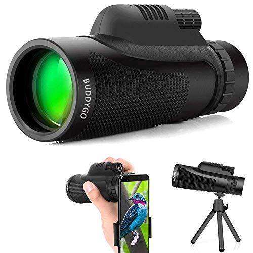 40x60 Monokular, BUDDYGO Monokular Teleskop mit mobilem Adapter & Stativ, Wasserdicht & Stoßfest, optimal geeignet für Camping, Vogelbeobachtung, Reisen,Tiere & auch für die Jagd