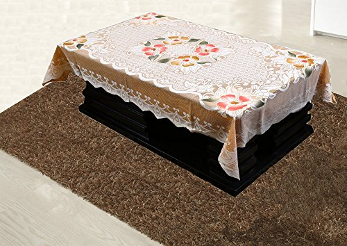 Kuber Industries Cotton 4 Seater Centre Table Cover - Cream