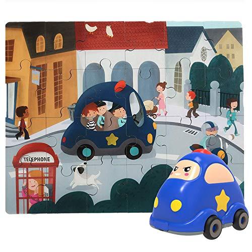 2 in 1 Puzzle In Legno Per Bambini + Macchinina Per Bambini E Ragazzi 3-5 Anni - Gioco Educativo Che...